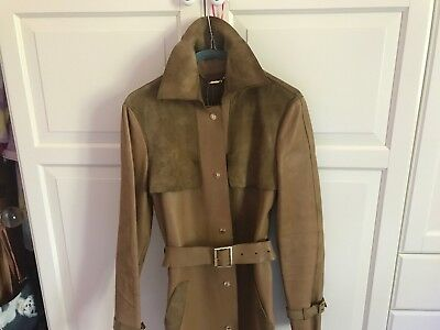 ee89df24e Vintage GUCCI TOM FORD 1998 Camel suede leather Belted Trench coat RARE IT42