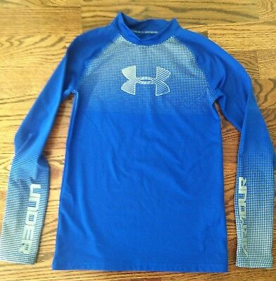 Under Armour Boys Coldgear Long Sleeve Shirt Fitted Sports Blue Size XL