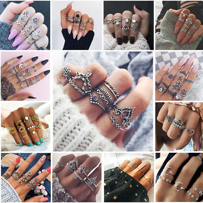 43 Styles Women Boho Stack Above Knuckle Rings Band Midi Finger Ring Set Jewelry