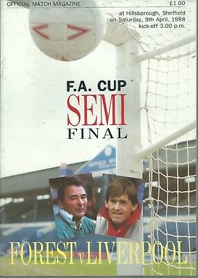 Nottingham Forest V Liverpool F.c. F.a. Cup Semi Final 1988 Matchday Programme