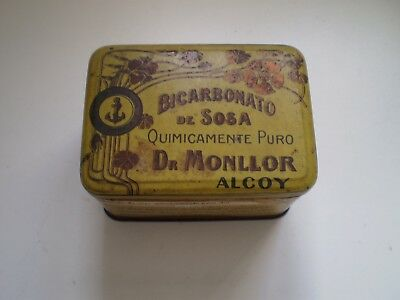 Antigua Caja Lata Metal Farmacia Bicarbonato Alcoy Dr Monllor Modernista Old Tin