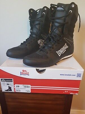 Unisex Lonsdale Black Boxing Boots ~ UK Size 7 ~ Brand New In Box