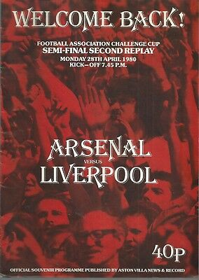 ARSENAL v LIVERPOOL F.A. CUP SEMI FINAL SECOND REPLAY 1980 MATCHDAY PROGRAMME