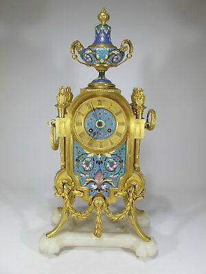 19th C French Japy Freres bronze champleve clock # D9262