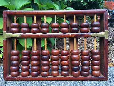 Chinese Antique Carved Hardwood Abacus Lotus Flower Brand