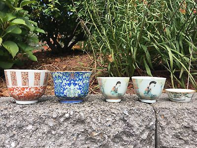 Group Of Five Chinese Antique Porcelain Cups