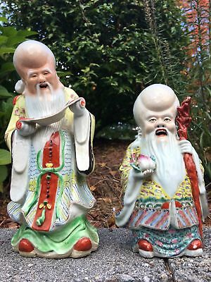 Group Of Two Chinese Porcelain Antique Shou Lou Figurines