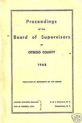 1968 Proceedings Board of Supervisors Otsego County, NY