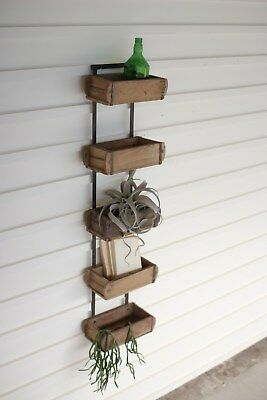 Hanging Antique Wooden Brick Mold Wall Rack Shelf Rustic Recycled Repurposed