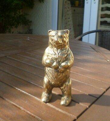 Fantastic Antique Solid Cast Brass Moneybox in Shape of a Bear-Good Quality