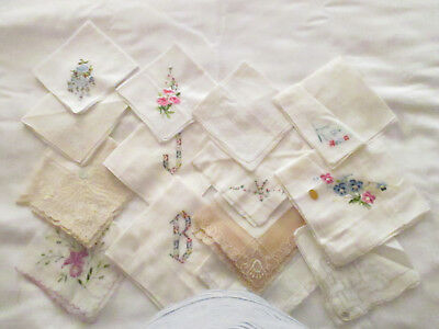 Collection #5 Vintage 15 Embroidered Flowers/Hand Crocheted Lace Trim Hankies