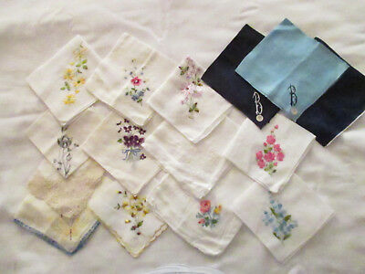Collection #6 Vintage 15 Embroidered Flowers/Hand Crocheted Lace Trim Hankies