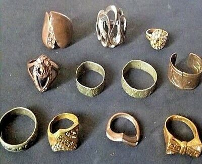 lot Of Ancient Old Bronze FABULOUS STATUS Rings Ornament VERY RARE.