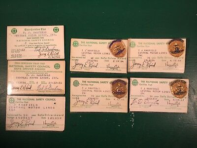 7 Central Motor Lines National Safety Council Safe Driver Awards Cards & Hat Pin