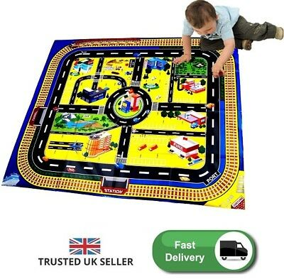 Car Play Mat Toy Game Racing Table Top Floor Cover Plastic Play Set Garage Kids