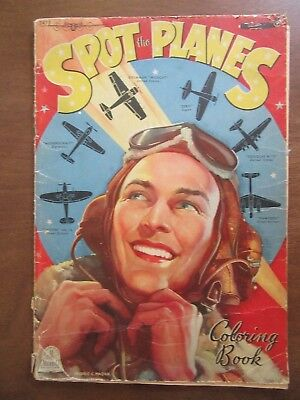 Spot the Planes World War II WWII coloring book Merrill Publishing Co 1944