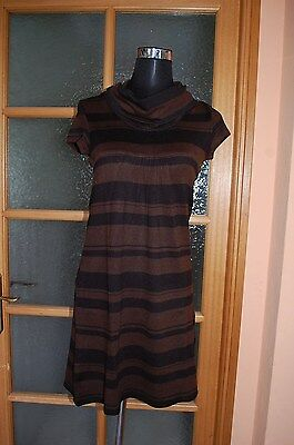 18 Am /  T Shirt Haut Pull Tunique Marron Raye Noir Cache Cache T 38 / 40