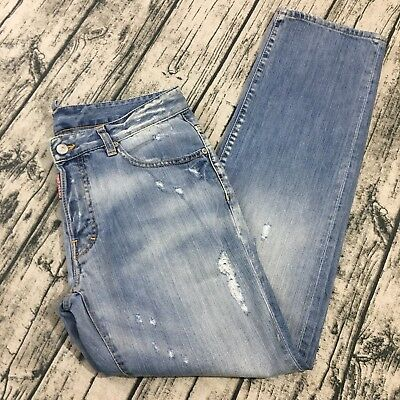 Dsquared2 Mens Denim Distressed Jeans Sz 48 IT 32 31 US Light Wash  Destroyed Hip beabef8a6eae