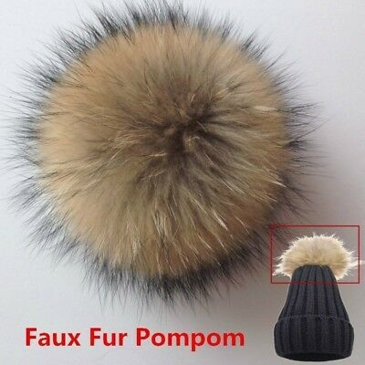 d76e7da1574 Fox Fur Pompom Fur Pom Poms Ball with Press Button for Hats   Caps  HA2