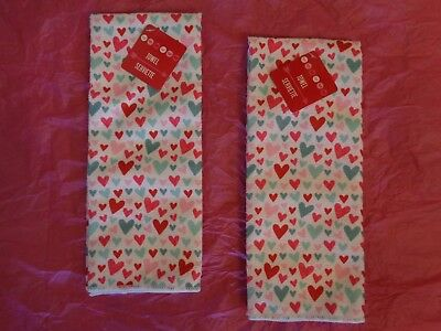 """Valentine's Day Pink/Red/Green (2) Kitchen Hand Towels w/Hearts. 14"""" X 24""""."""