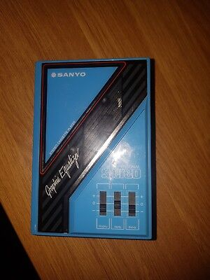 Retro Blue Sanyo Personal Stereo Cassette Player M GP24 With Graphic Equaliser