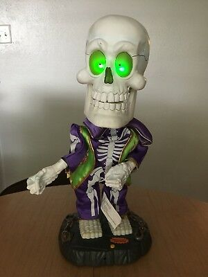 "Rare Halloween Big Head Super Freak Animated Singing Dancing 17"" Skeleton Gemmy"