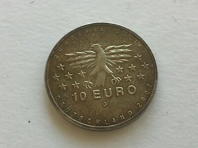2007-G 10 Euro Germany Silver Commemorative Coin 50 Years Saarland UNC