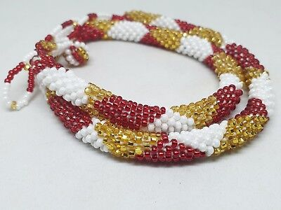Nepal Bracelet Glass Seed Bead Roll Over Hand Crochet Nepal Handmade Necklace