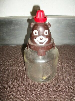 Vintage Bosco Bear Chocolate Syrup Original Glass Jar Bank Container