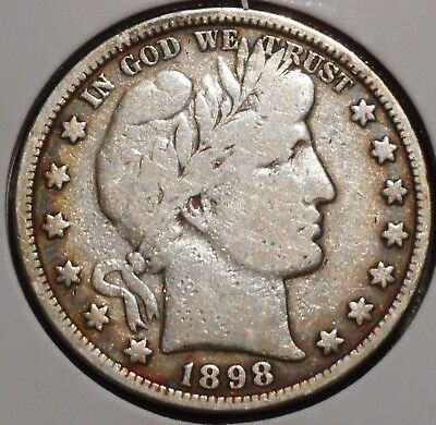 Barber Half - 1898 - Historic Silver! - $1 Unlimited Shipping