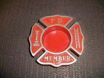 Vintage Cast Craft Collectible Red Cast Metal Fire Department Member Ashtray