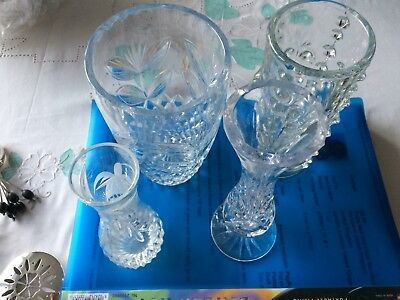 4 x flower vases, cut glass, engraved, modern, etched, all with no damage VGC