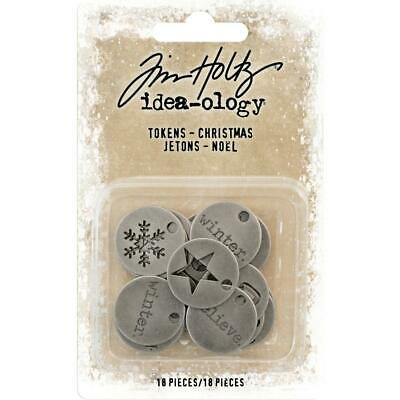 Tim Holtz Idea-Ology - Metal Tokens - Christmas - 18 Pieces - NEW!