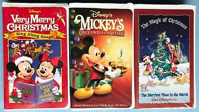 3 disney vhs mickeys once upon a christmas very merry sing along songs magic