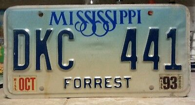1993 Mississippi Forrest County  license plate tag NO RESERVE!!!! $0.99