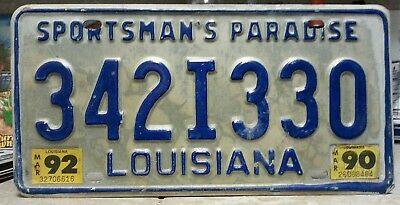 Louisiana sportsmans paradise 90&92 license plate tag NO RESERVE! $0.99