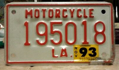 "1993 Louisiana Motorcycle License plate tag Has the year ""1950"" in the #s!"