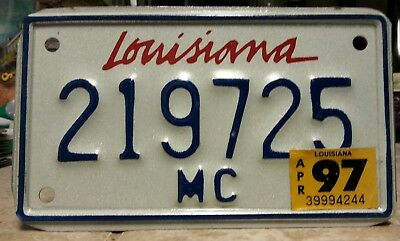 "1997 Louisiana Motorcycle License plate tag ""1972"" in the #s!!"