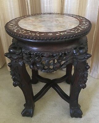 Antique Chinese Hand Carved ROSEWOOD Marble MOP Pedestal Stand 1800's FOO DOG