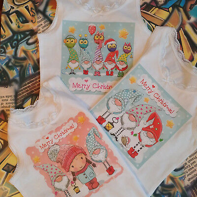 Girls Kids 3 Pack Vests Cute Gnome Christmas