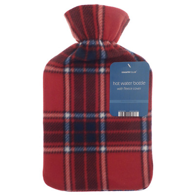 Country Club 2018 Christmas Fleece Covered Hot Water Bottle - Red Check (Tartan)