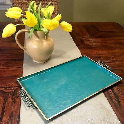 1950s Mid Century Modern MCM Large Retro Keys Moire Glaze Tray — Blue Gold Teal