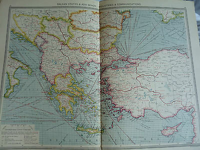 1900/1908 antique map BALKAN STATES & ASIA MINOR Harmsworth Universal