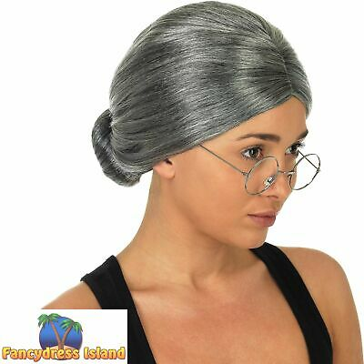 Granny Wig Old Woman Grandma Slick Bun Grey Ladies Womens Fancy Dress Costume