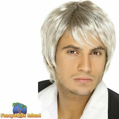 Boy Band Wig Light Blonde Brown Mark Owen Short Adult Men's Fancy Dress Costume