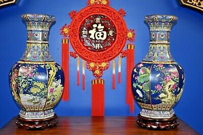 "$100.00 Off  22"" Chinese   Porcelain  Vase Very Fine Detail Cloisonne Japanese"