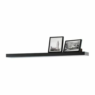 Modern HIGH GLOSS Floating Wall Shelves Black Bookcase Display Shelf
