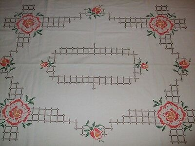 Hand embroidered  table cloth Cross stitch  table cloth Shabby Square table150cm