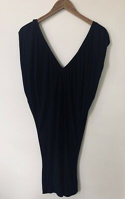 Armani Exchange Italy A/X Black Knit V-neck Back Mini Bodycon Dress Tunic Small
