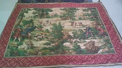 """Antique 19c Aubusson French print Tapestry Beautiful   size 41""""x54 cm104x138"""